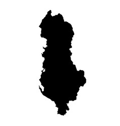 black silhouette country borders map of albania vector image