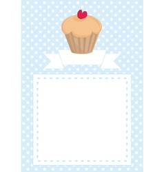 Blue and white dots cupcake heart card invitation vector image