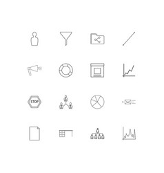 business simple linear icons set outlined icons vector image
