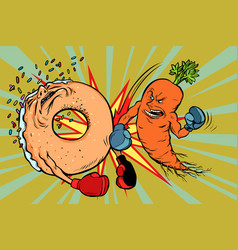 Carrots beats a donut vector