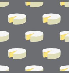 cartoon camembert cheese seamless pattern vector image