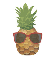 cartoon pineapple in glasses colorful print of vector image