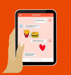 chat mobile application with love stickers vector image