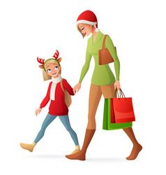 Christmas family shopping vector