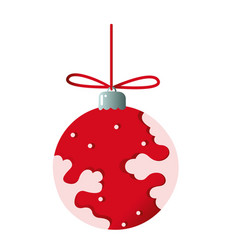 christmas tree toy red color with snowflake vector image