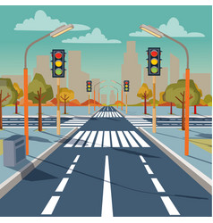 City crossroad with traffic lights vector