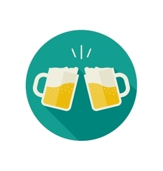 Clink mugs with beer icons vector