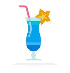 Cocktail blue lagoon flat material design vector