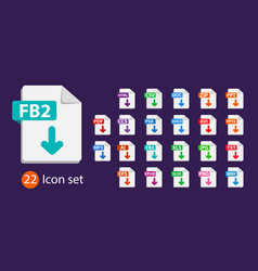 collection icons sign download fb2 vector image
