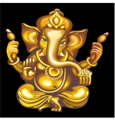 collection of mascots golden ganesha vector image