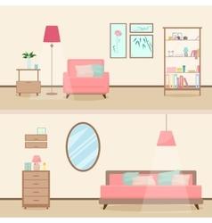Colorful flat style modern livingroom interior vector