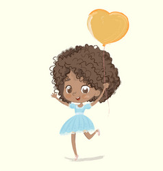 Cute african-american happy girl with balloon vector