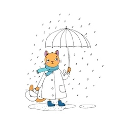 Cute cartoon cat umbrella rain and puddles vector image