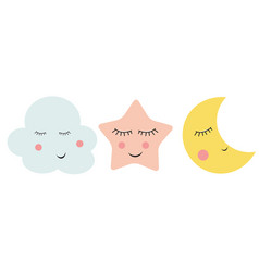 Cute cloud star and moon vector