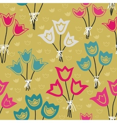 Cute seamless floral pattern with tulips on pastel vector