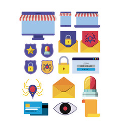 cyber security set icons vector image