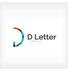 D letter logo minimal line design vector image