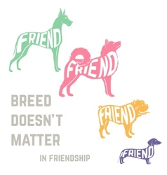Dog breed silhouette with friendship concept text vector