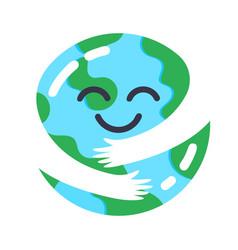 Earth caring cute planet mascot hugs himself vector
