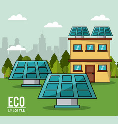 eco lifestyle solar panel house smart clean energy vector image