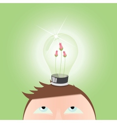 Ecology green Light Idea Bulb vector image vector image