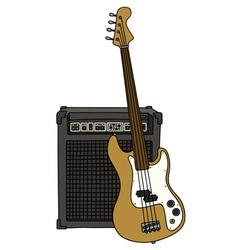 Electric fretless bass guitar and combo vector
