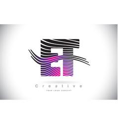 Et e t zebra texture letter logo design with vector