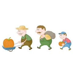 Farmers harvest of pumpkins vector