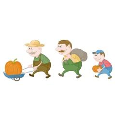 Farmers harvest pumpkins vector