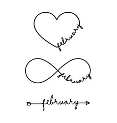 february - word with infinity symbol hand drawn vector image