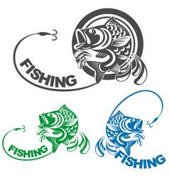 Fish carp and fishing logo vector