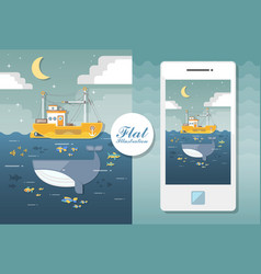 Flat seascape with boat and whale flat vector