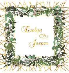floral card design green fern forest leaves vector image