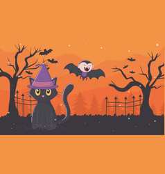 flying dracula and cat with hat halloween vector image