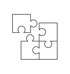 four piece puzzle line icon on white background vector image