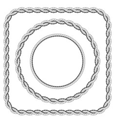 Frames of twisted rope with rounded corners vector