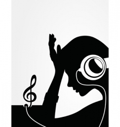 girl in earphones vector image