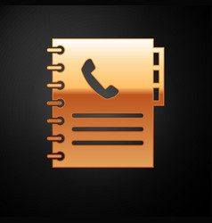 Gold phone book icon isolated on black background vector