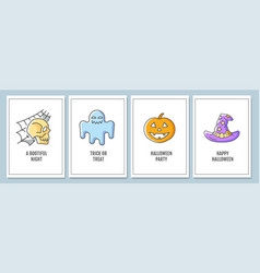 halloween celebration greeting cards with color vector image