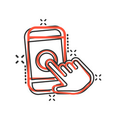 hand touch smartphone icon in comic style phone vector image