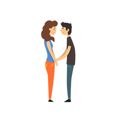 happy couple in love holding hands looking at vector image