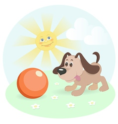 happy dog on shiny lawn vector image