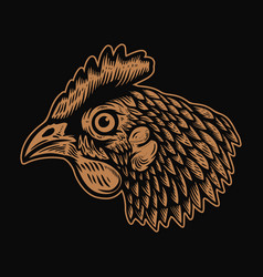 head chicken in engraving style design element vector image