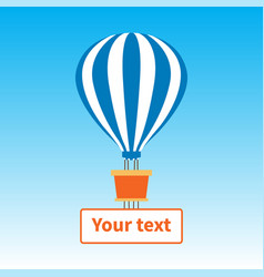Hot air balloon with banner for text in blue sky vector