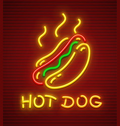 Hot dog neon icon fast food vector