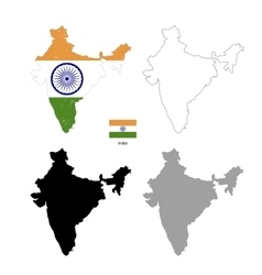 India country black silhouette and with flag on vector image