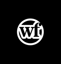 initial letter wf logo template with circle icon vector image