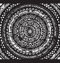 Ink decorative mandala in african style vector