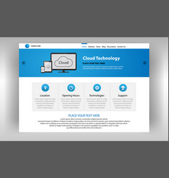 Internet page of cloud technologies vector