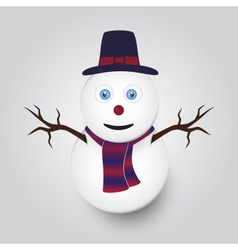 isolated white winter happy snowman eps10 vector image